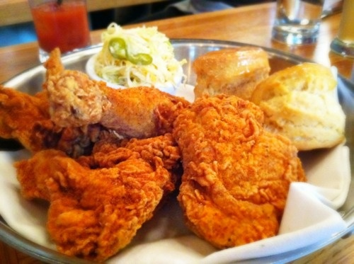 fried chicken with honey butter biscuits photo-hungry.com