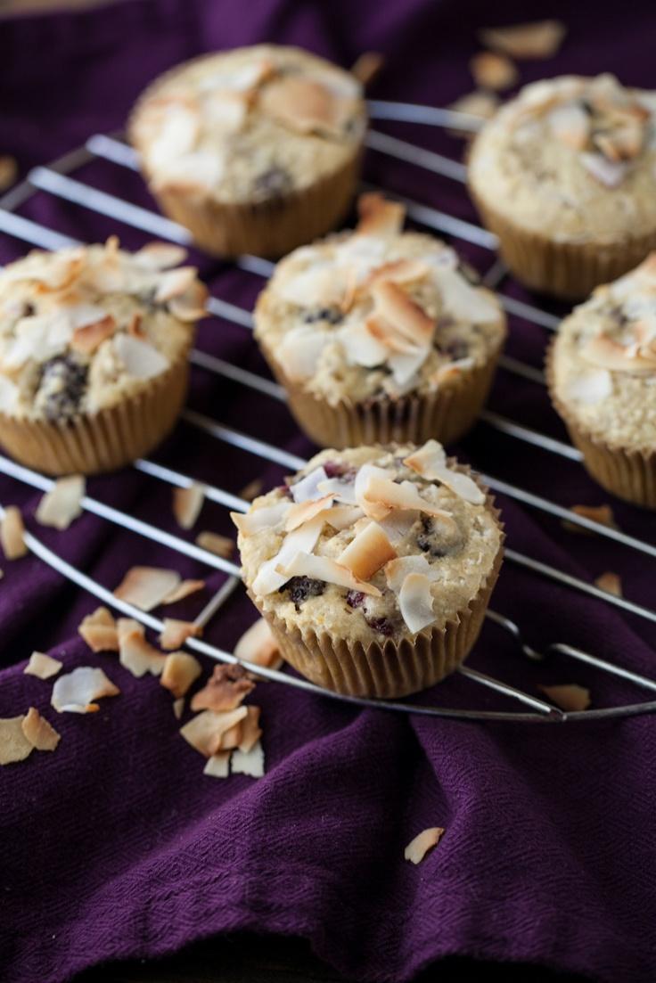 Blackberry Coconut Muffins (w/oats, whole wheat, coconut oil, maple ...