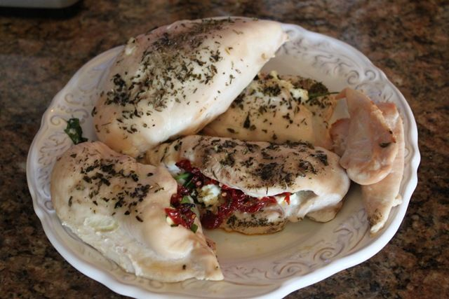Chicken breast stuffed with goat cheese & sun dried tomato- easy ...