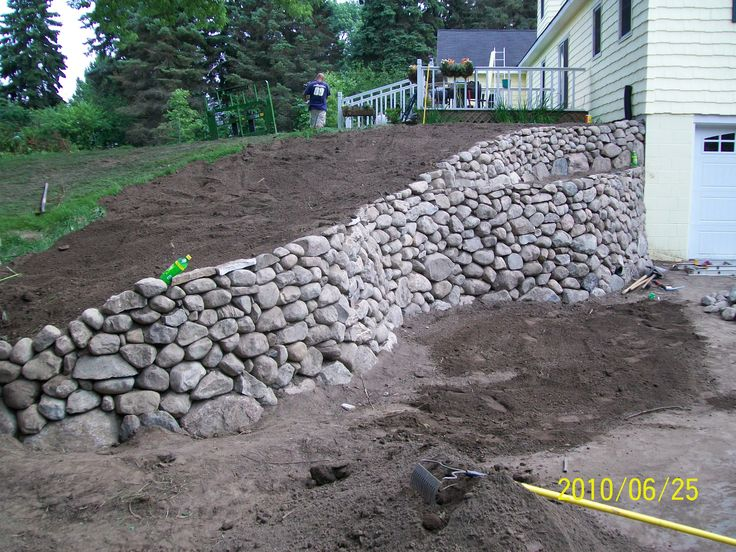 stacked stone retaining wall Garden and yard Pinterest