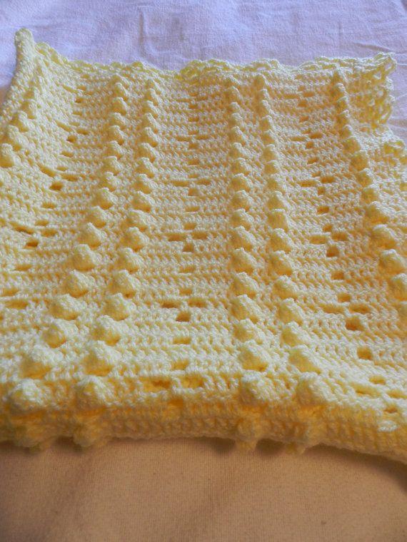 Crochet Stitches Popcorn : Crochet Baby Blanket Yellow Popcorn Stitch