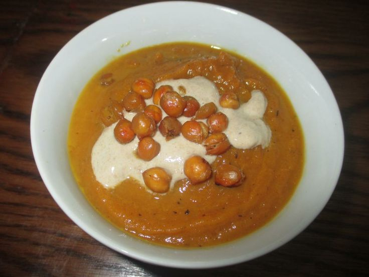 Carrot Soup with Crunchy Chickpeas and Tahini Recipe | Penniless ...