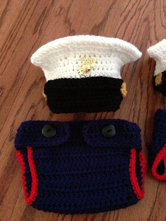 Crochet Baby Marine Hat Pattern : Crochet Marine dress WITHOUT lapel pin uniform hat and ...