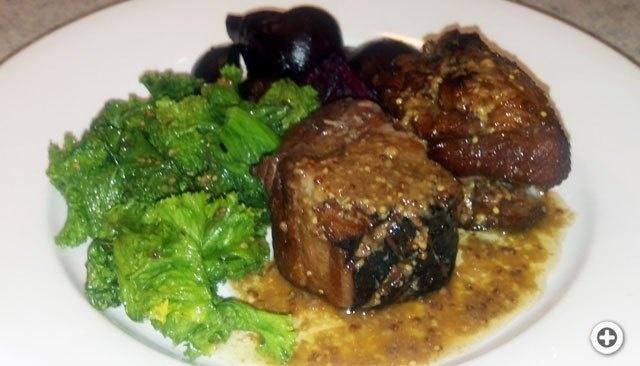 Braised Pork Belly, Roast Beets, Sautéed Mustard Greens with Mustard ...
