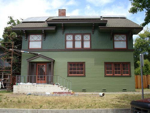 Craftsman green exterior craftsman arts and crafts style house co - Green painted house exteriors style ...
