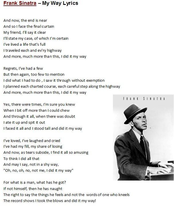 Frank Sinatra My Way Quotes. QuotesGram