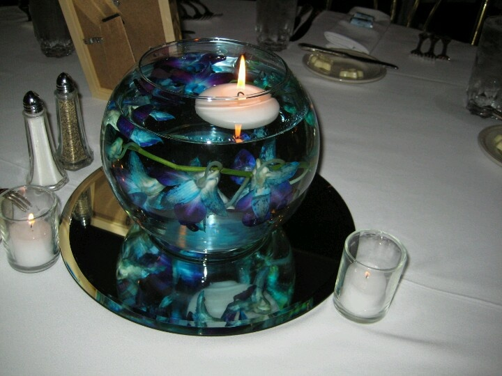 Blue orchid centerpiece wedding pinterest