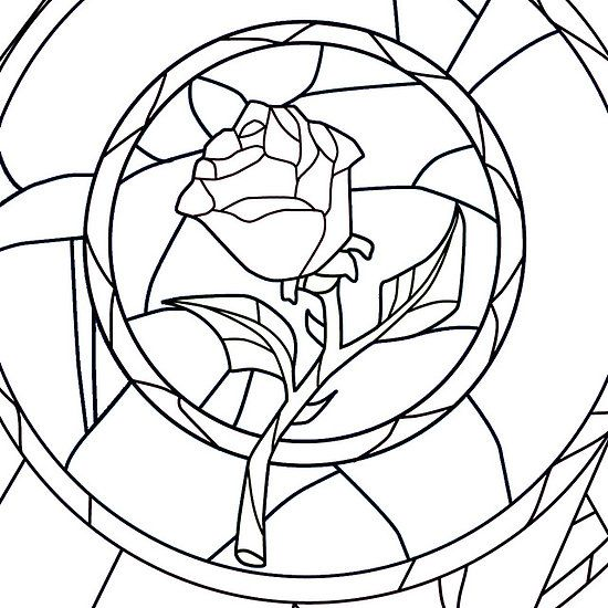 Beauty And The Beast Rose Stained Glass Coloring Page ...