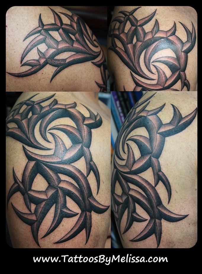 3d tribal arm and shoulder tattoo artist melissa capo tattoos i have. Black Bedroom Furniture Sets. Home Design Ideas
