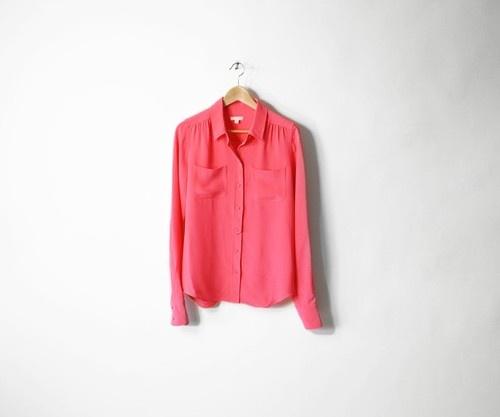 J Crew Hot Pink Silk Blouse 13