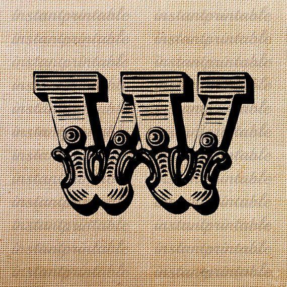 Monogram initial letter w letter clip art letter decal download