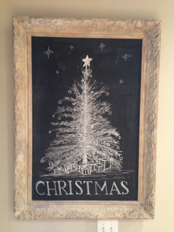 Christmas Tree on Kitchen Chalkboard | christmas table settings | Pin ...