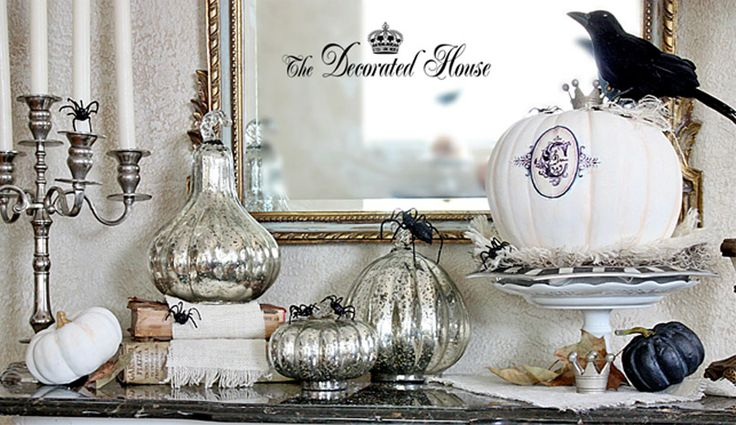 The Decorated House: ~ Halloween Decorating in Black & White with Mercury Glass. Mantle Decor.