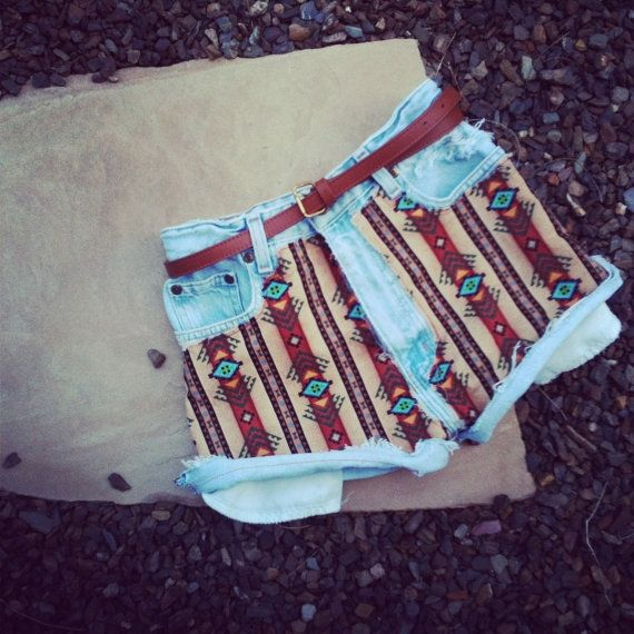 Vintage High Waisted Jean Shorts Aztec Print by DaisyCombridge