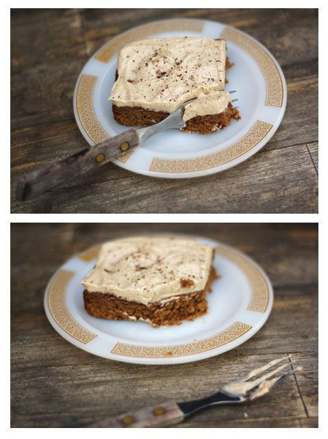 gingerbread cake bars with espresso ermine frosting