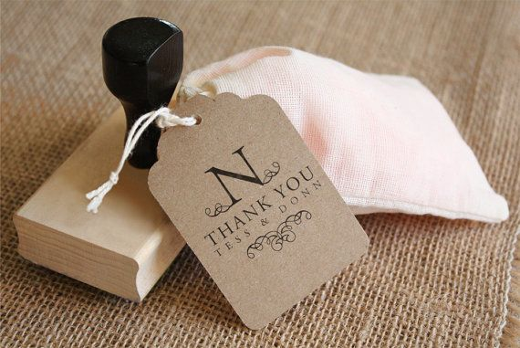 Wedding Favor Tags Thank You Wording : DIY Favor Tag StampCUSTOM WORDINGThank You Monogram