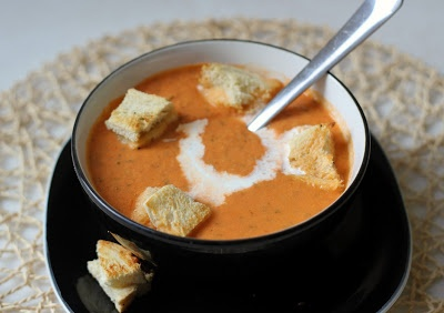 Tomato soup with grilled cheese croutons | YUM! | Pinterest