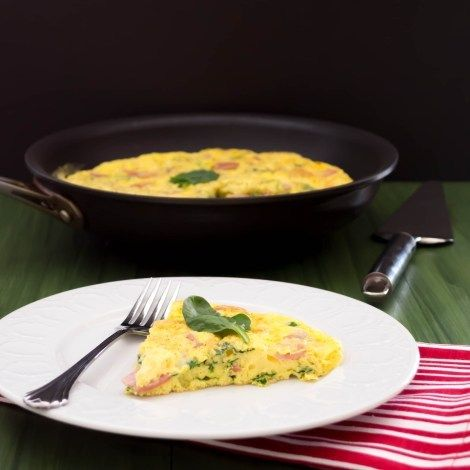 Spinach Fritatta With Canadian Bacon And Swiss Cheese