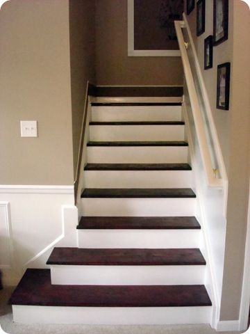 Stained Pine Stairs : thriftydecorchic and stained pine stairs  Remodel  Pinterest