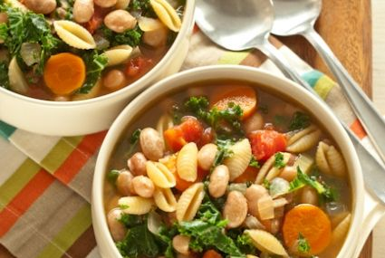 Pasta & Bean Soup with Kale: A hearty soup chock full of beans and ...