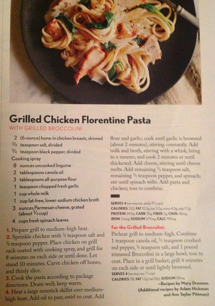 Grilled chicken florentine pasta | Food | Pinterest