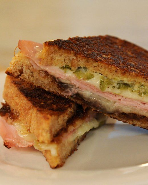 Grilled Ham and Cheese with Cornichon Spread | Recipe