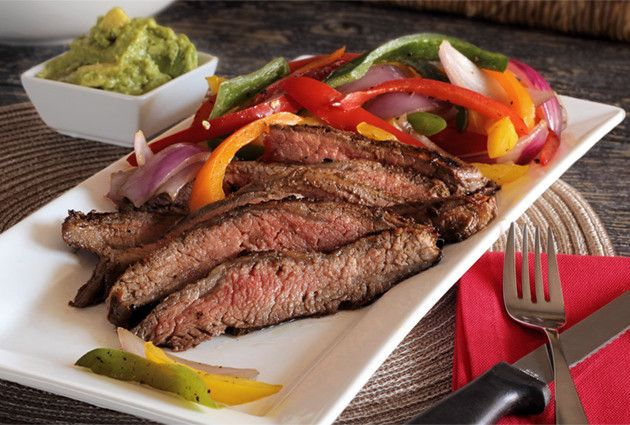 Balsamic Marinated Flank Steak with Grilled Peppers | Recipe