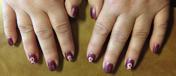 Breast cancer awareness gelish shellac gel polish nail art design
