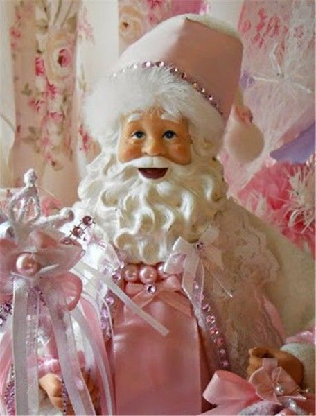 Pastel pink Christmas home decor, Pastel pink Christmas santa #Pastel #pink #Christmas #home #decor www.loveitsomuch.com