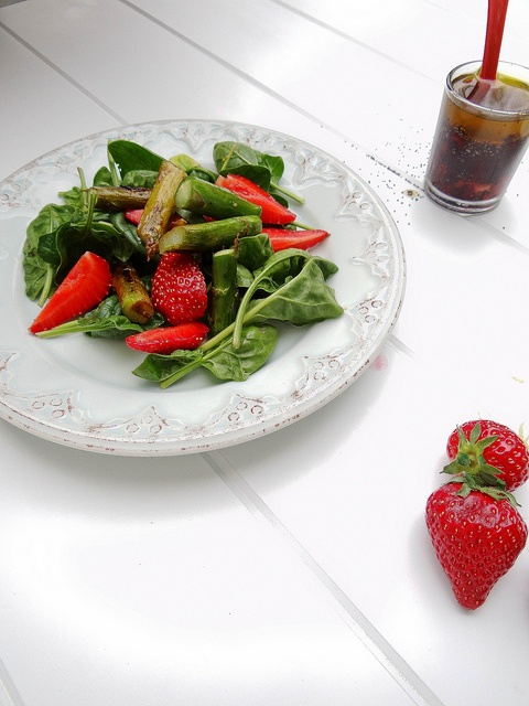 Spinach Salad with strawberries and asparagus. Welcome to Yum City, population this salad.