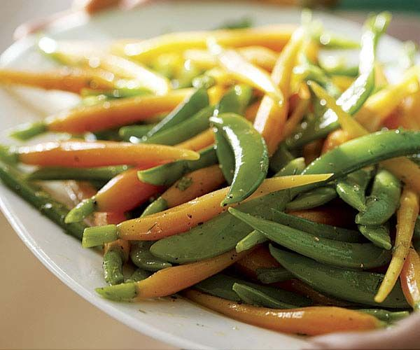 sugar snap peas and carrots in lemon, mint and dill sauce.