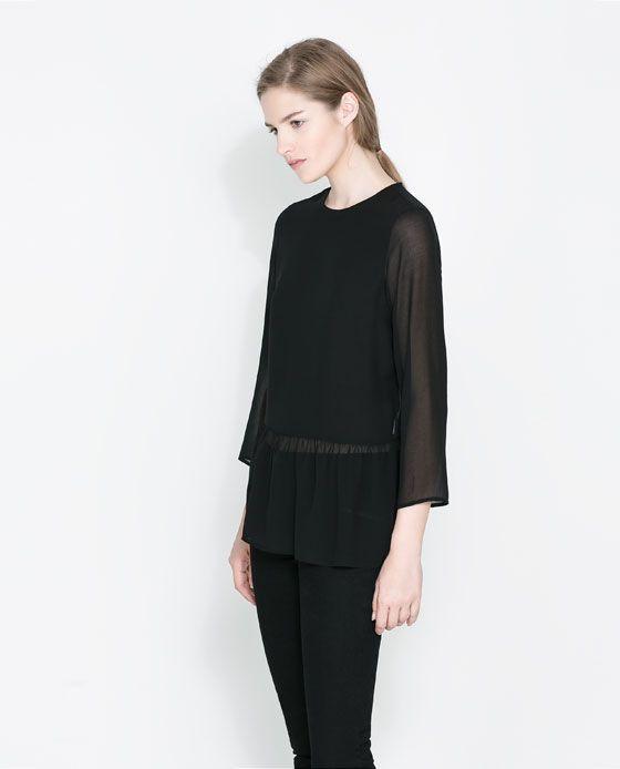 Zara Blouse With Frilled Hem 113
