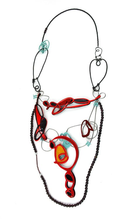 "Laritza Garcia - Primary necklace copper, steel, steel cable, sterling silver, powder coat, fresh water pearls, garnet, black onyx, 2012 16"" x 5.5"" photo: Tara Locklear"