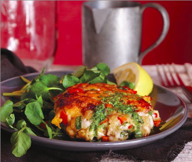 Crispy trout cakes pair nicely with a fresh watercress salad dressed ...