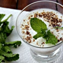Delicious salty lassi with cumin and mint. Cooling and refreshing!
