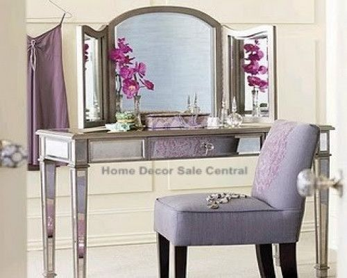 New venetian mirrored vanity makeup silver table trifold for Silver vanity table