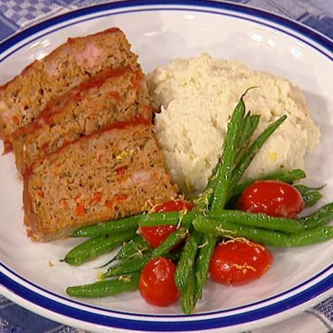 ... Mashed Potatoes, Turkey Meatloaf, & Sautéed Asparagus and Tomatoes