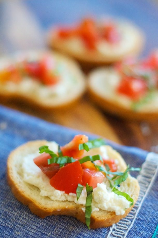 Garlic Tomato Crostini With Ricotta Recipe — Dishmaps