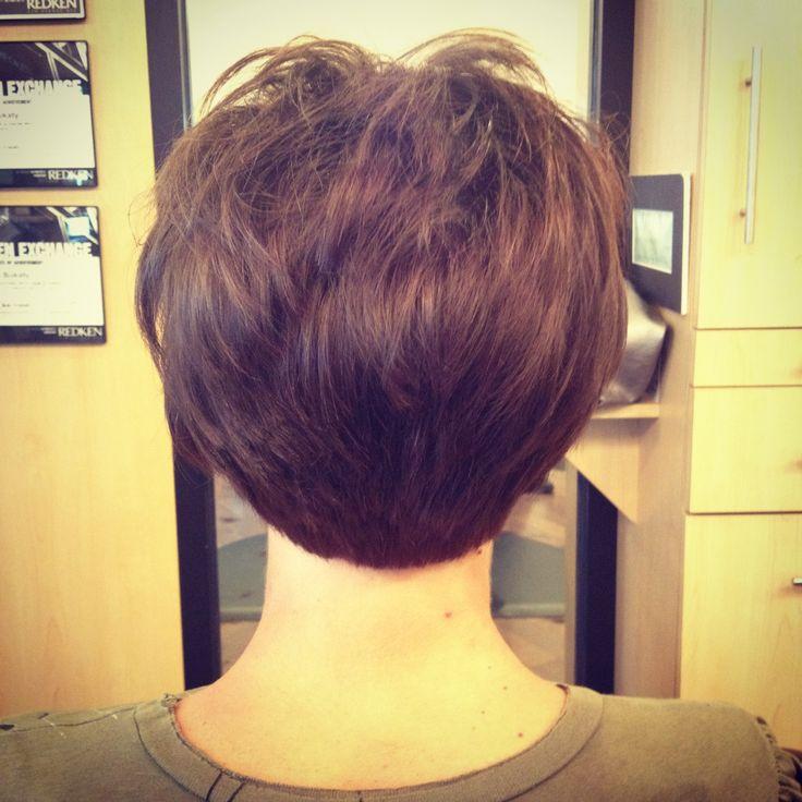 Short stacked bob haircut by Debbie at Encounters Salon haircut short hai