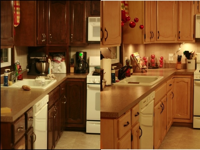 Before and after painted cabinets and rubbed stain over top and wiped