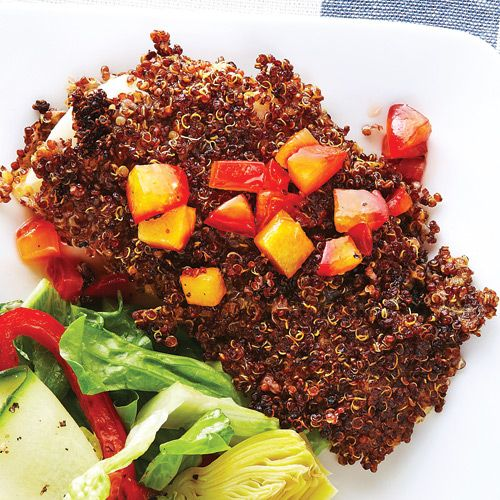 Quinoa-Crusted Fish with Plum Chutney - Clean Eating - Clean Eating