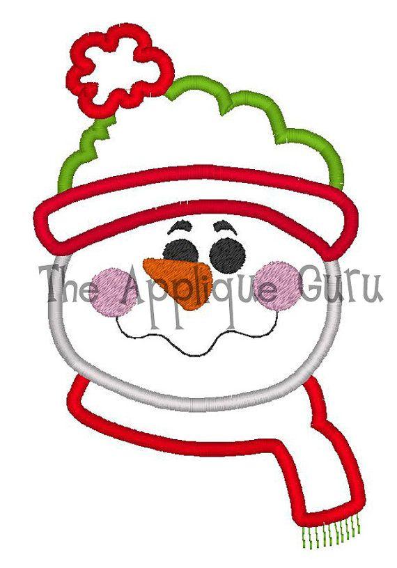Snowman applique machine embroidery design