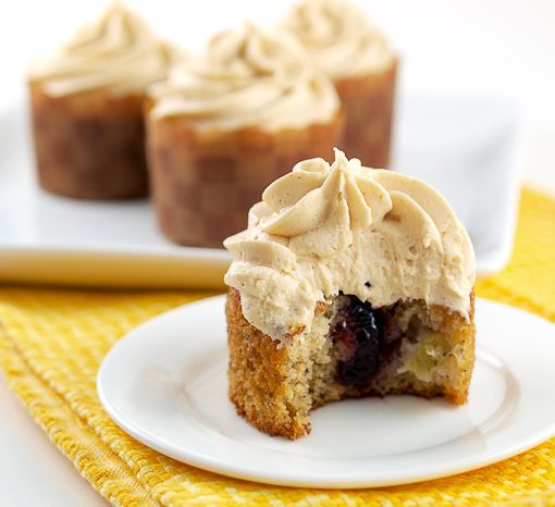 Jam Filled Banana Cupcakes with Peanut Butter Frosting | Baking and ...
