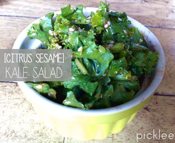 Citrus Sesame Kale Salad Recipe | Connors board | Pinterest