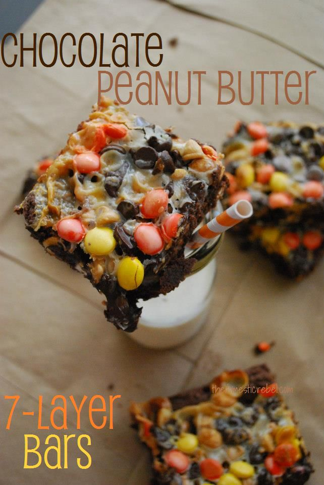 Chocolate Peanut Butter 7 Layer Bars...these look rich and sinful!