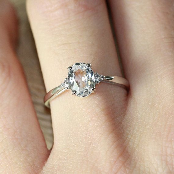 Oval Solitaire White Sapphire Engagement Ring Wedding Band 10k White