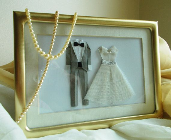 Unique Wedding Gift For Bride And Groom : Unique Wedding Gift. Bride and Groom Framed Origami Art. Handmade Wed ...