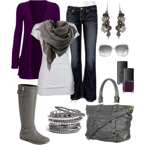 """New Fave, Purple and Grey. I want those boots! :D"" by chelseawate on Polyvore"