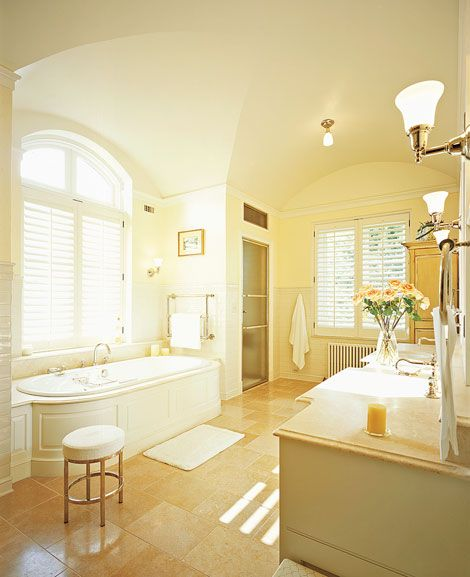 Sunny and bright bathroom