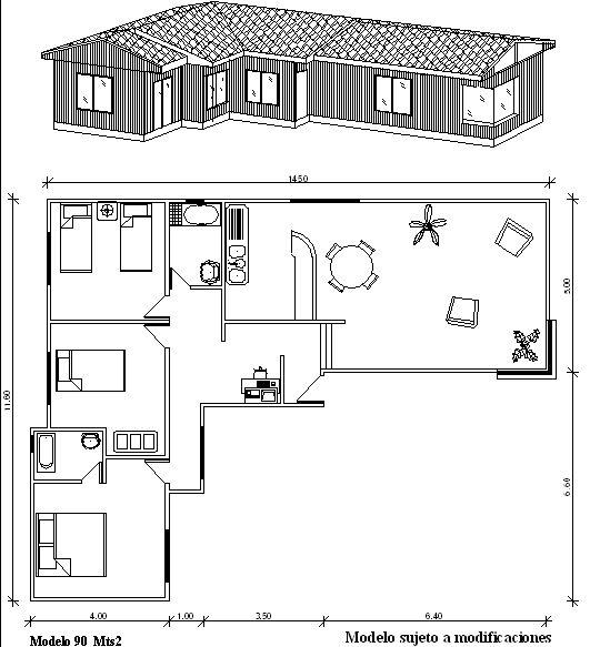 Plano casa prefabricada modelo 90 mts2 ideas para el - Planos casas modulares ...